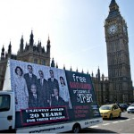 Iran Baha&#039;i prisoners billboard at Westminster
